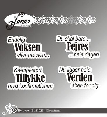 By Lene Stamps, tekst stempler til scrapbooking og kort - BLS1021
