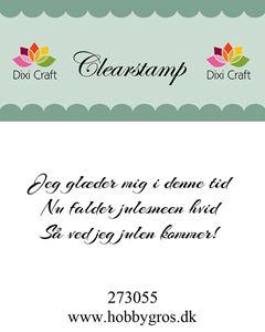 """Clearstamp """"Jeg glæder mig i denne tid..."""" fra Dixi Craft - 273055"""