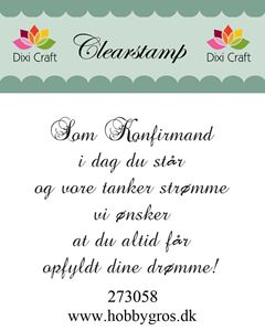 "Clearstamp ""Kom Konfirmand..."" fra Dixi Craft - 273058"