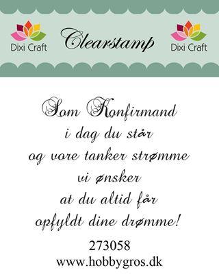 "Clearstamp ""Kom Konfirmand..."" fra Dixi Craft - 273058"