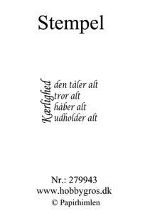"""Clearstamp """"Kærlighed..."""" fra Papirhimlen - 279943"""