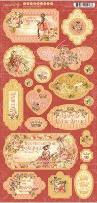 Dekorativ chipboard i pap fra Graphic 45 - Princess
