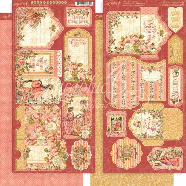 Tags og lommer i karton fra Graphic 45 - Princess