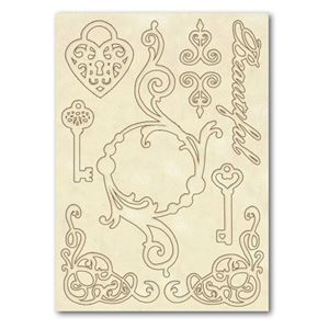Dekorations Nøgler & hjerter af træ fra Stamperia - KLSP012