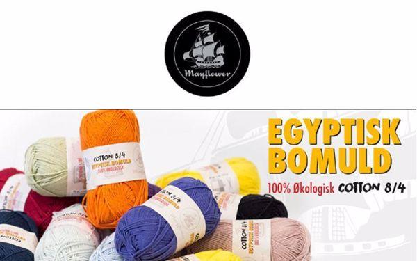 100% økologisk egyptisk bomuldsgarn 8/4 fra Mayflower
