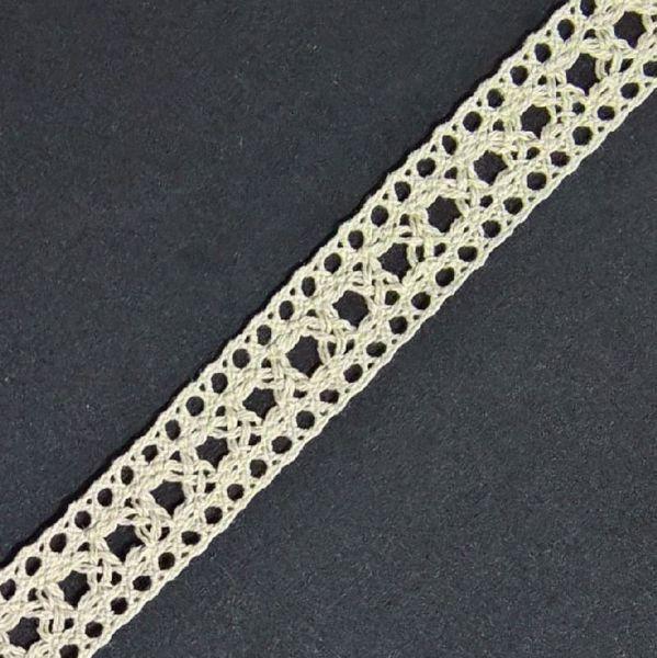 Mellemværk af bomuld med en bredde på 18 mm - Rå hørfarve