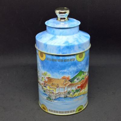Garn eller te dåse med dobbelt låg og kinesisk motiv