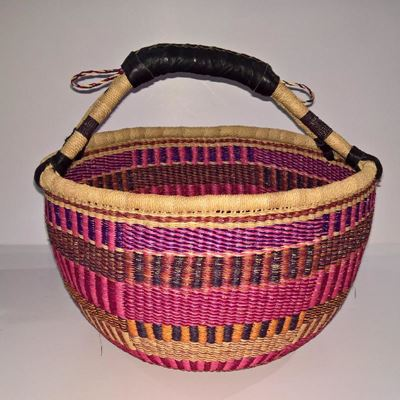 Hammershus Fairtrade Bolga kurv - Stor Natur, Pink, rød, violet og orange - Hank af læder
