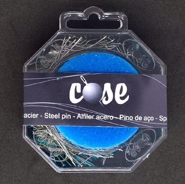 50 gram knappenåle, nipsenåle i plastæske med nålepude - ca 450 nåle fra COSE