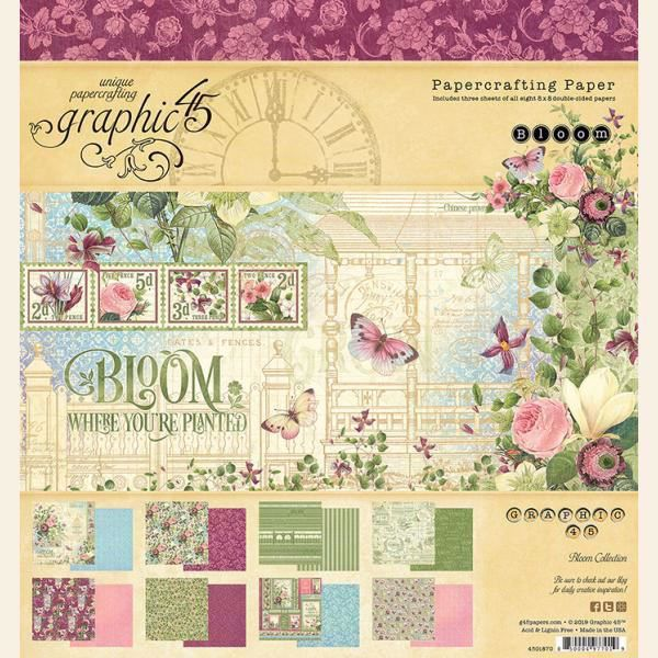 Papir blok 8x8 fra Graphic 45 - Bloom