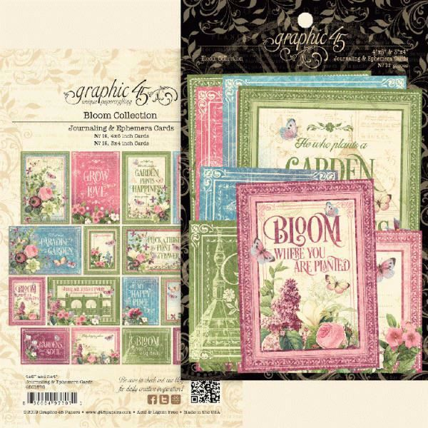 Kort i karton fra Graphic 45 - Bloom - Journaling & Ephemera