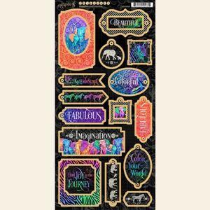 Dekorativ chipboard i pap fra Graphic 45 - Kaleidoscope