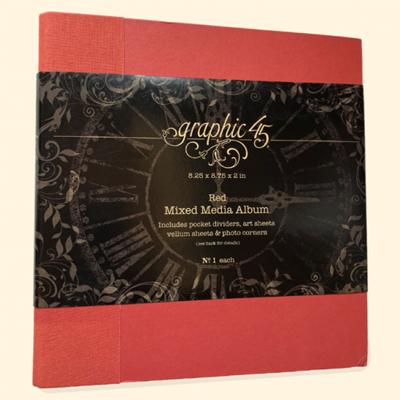 Mixed Media Album med indhold fra Graphic 45 - Rød