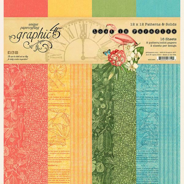 Papir blok 12x12 Patterns & Solids fra Graphic 45 - Lost in Paradise - 4501894