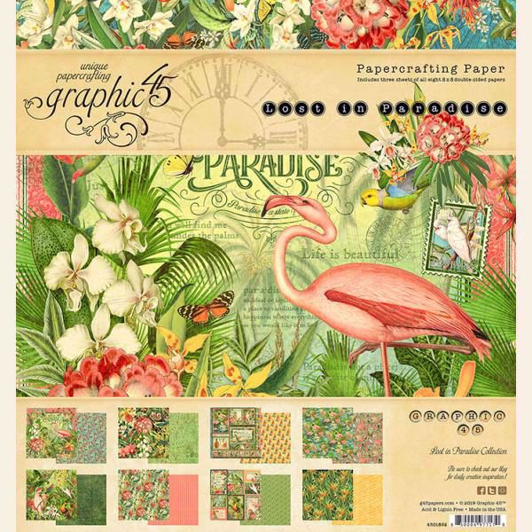Papir blok 8x8 fra Graphic 45 - Lost in Paradise - 4501892