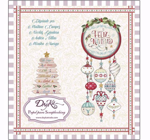DayKa, Feliz Navidad design papir blok 8 x 8 til scrapbooking og kort - SCP-1021