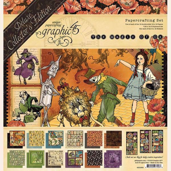 Papir blok 12x12 mm fra Graphic 45 -The Magic of Oz - Deluxe Collector's Edition