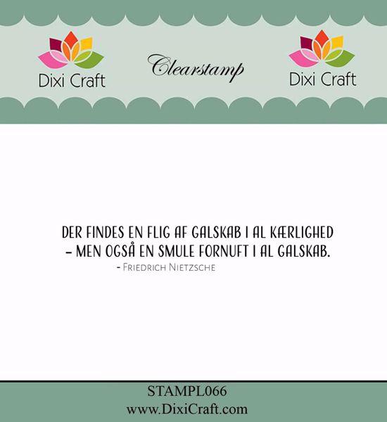 """Clearstamp """"Der findes en flig af galskab"""" fra Dixi Craft - STAMPL066"""