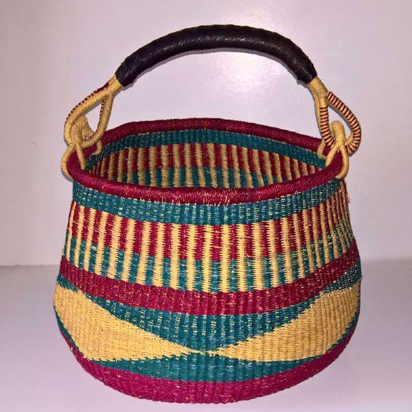 Hammershus Fairtrade Pot Basket af elefantgræs - Natur, grøn og vinrød