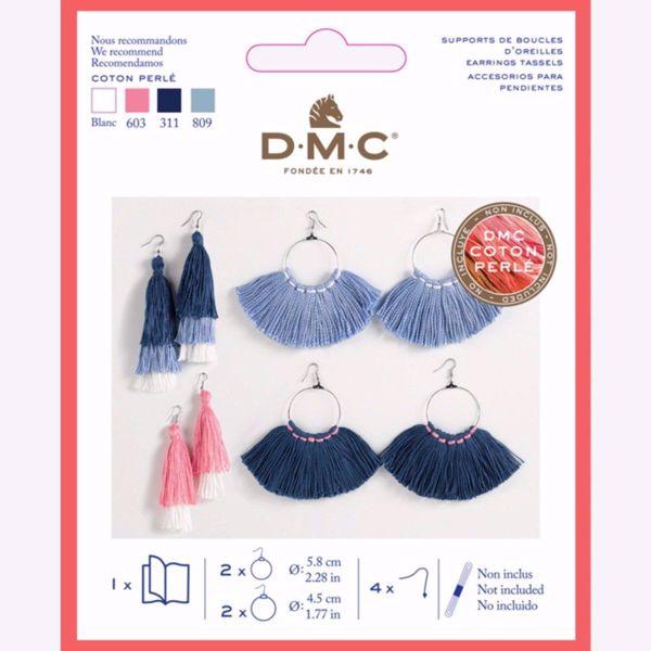Sølvfarvet metal øreringe til frynser og kvaster fra DMC - U2082