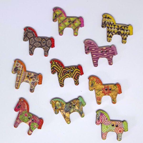 Heste knapper med forskellige mønstre - assorteret træknap