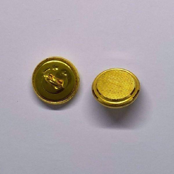 Riflet guldfarvet knap med øsken - 14,5 mm