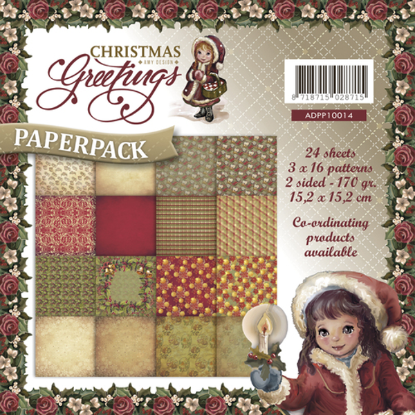 Blok 6x6 Christmas Greatings fra Marianne Design til scrapbooking og kort
