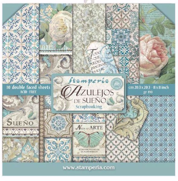 Stamperia Azulejos de Sueno design papir pakning til scrapbooking og kort - SBBS04