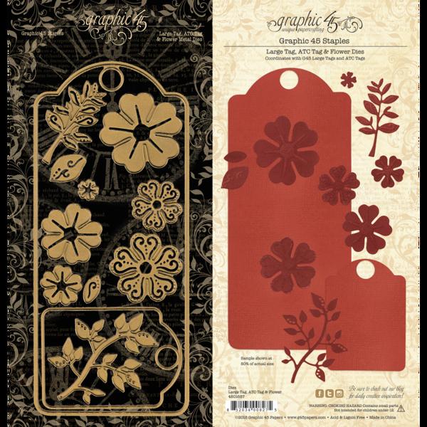 Large Tag & Flower Metal Dies - beklæd dine tags fra Graphic 45 - 4501687