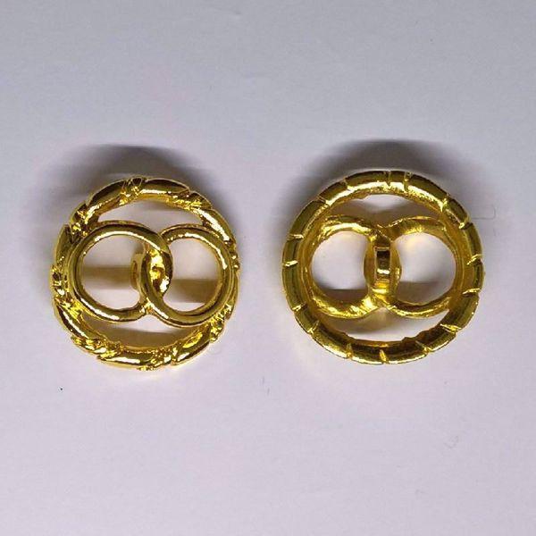 Åben Guldknap med ringe - Ø 28 mm
