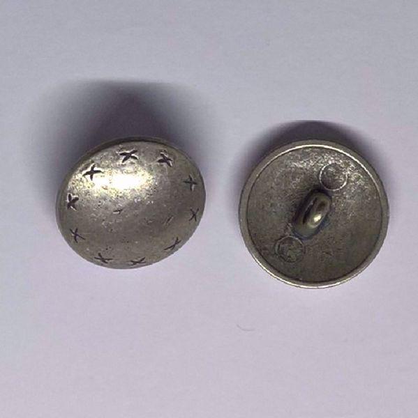 Tin knap med små korssting - Ø 17 mm