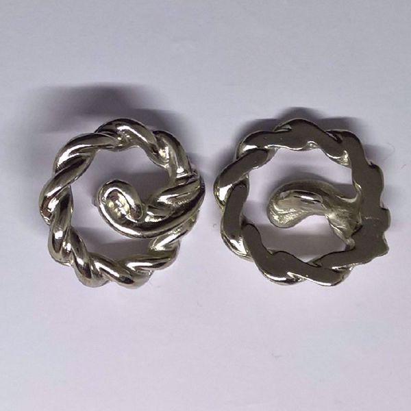 Sølv knap - snoet - Ø 29 mm
