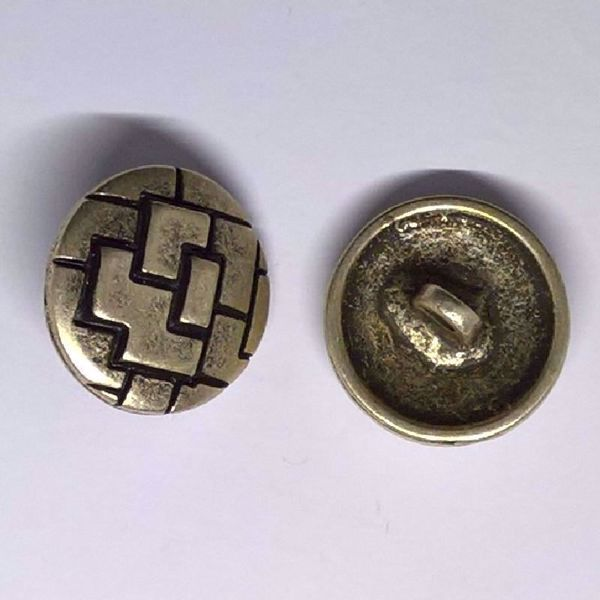 Sølv knap - Tetris - Ø 20 mm