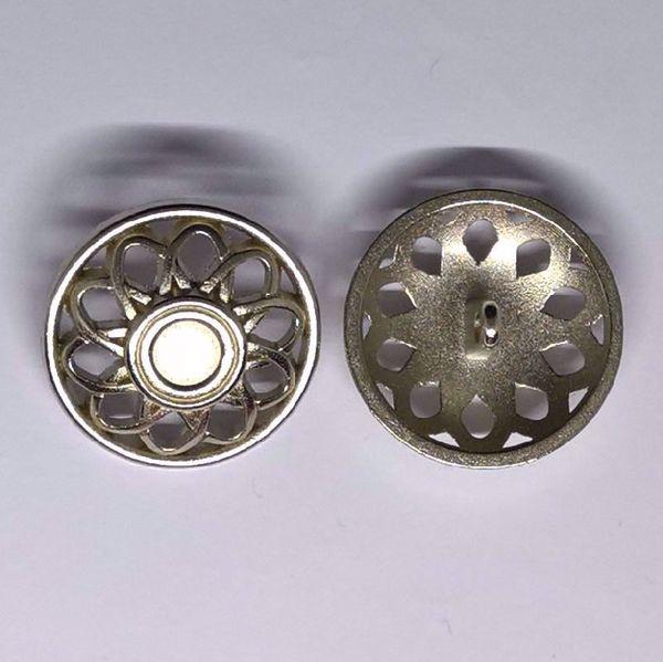 Sølv knap - Atom blomst - Ø 25 mm