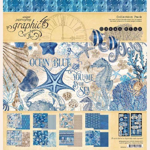 Papir blok 12x12 fra Graphic 45 - Ocean Blue - 4502016
