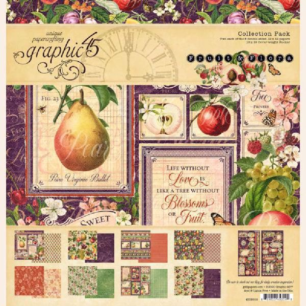 Papir blok 12x12 fra Graphic 45 - Fruit & Flora - 4502000