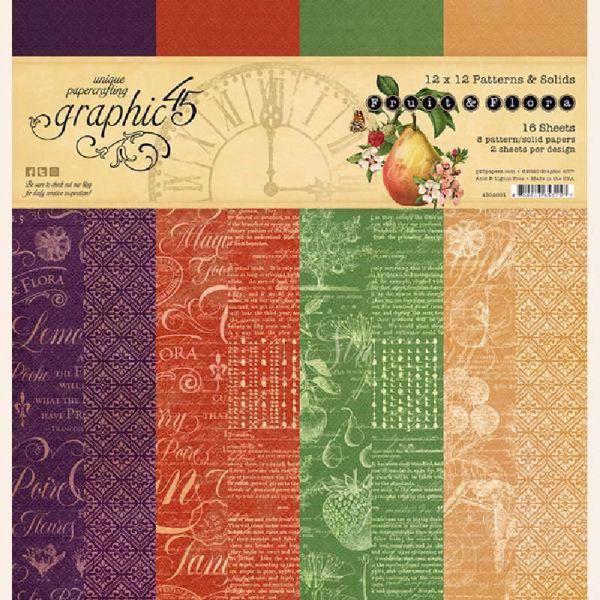 Papir blok 12x12 Patterns & Solids fra Graphic 45 - Fruit & Flora - 4502001