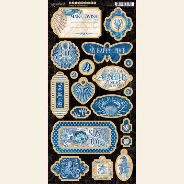 Chipboard fra Graphic 45 - Ocean Blue - 450018