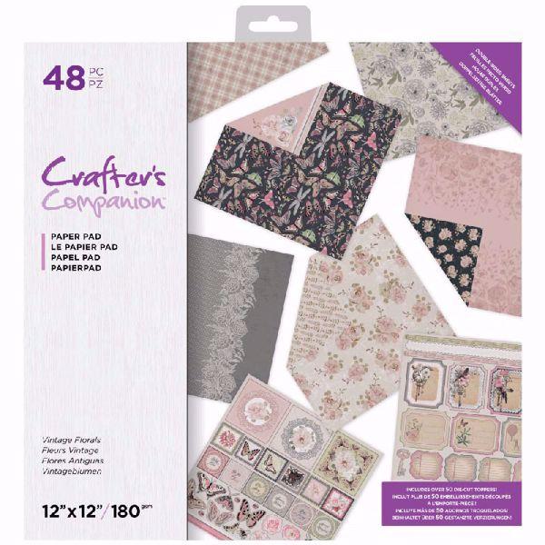 Vintage Florals design papir pakning fra Crafters Companion til scrapbooking og kort - CC-PAD12-AGEDF