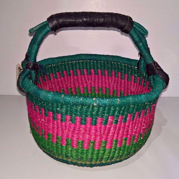 Hammershus Fairtrade Bolga kurv - Medium Natur, grøn og pink