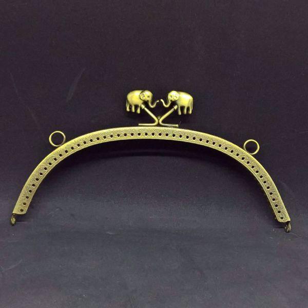 Taske bøjle med elefanter - 20 cm - Antik bronse farvet