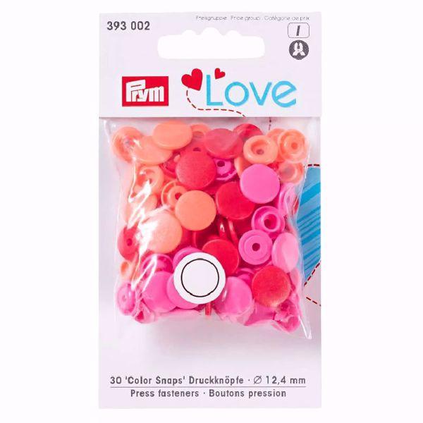 Color Snaps trykknapper - Rød/Pink/Orange 393 002