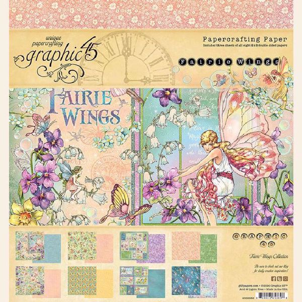 Papir blok 8x8 fra Graphic 45 - Fairie Wings - 4502082