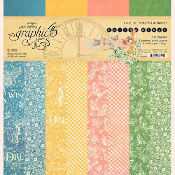 Papir blok 12x12 Patterns & Solids fra Graphic 45 - Fairie Wings - 4502084