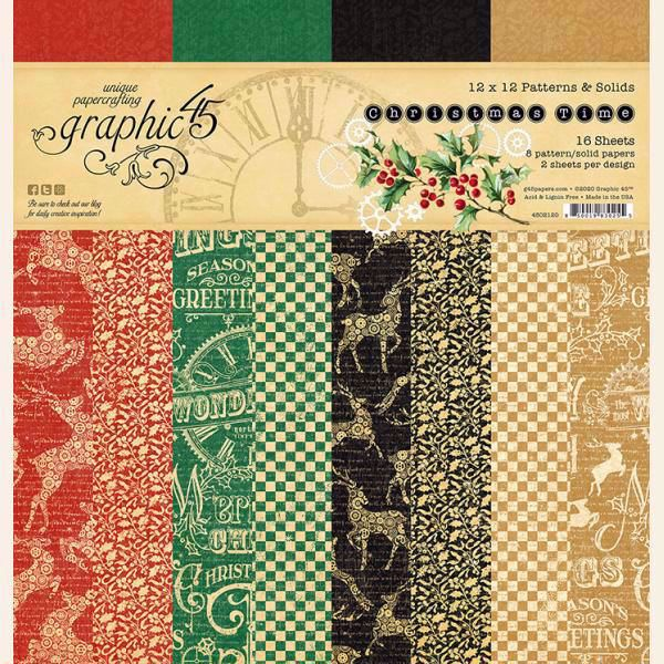 Papir blok 12x12 Patterns & Solids fra Graphic 45 - Christmas Time - 4502120