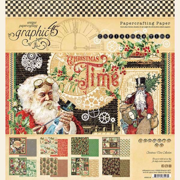 Papir blok 8x8 fra Graphic 45 - Christmas Time - 4502118