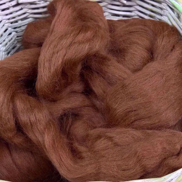 Naturfarvet alpakka tops til spinding - Mørk brun