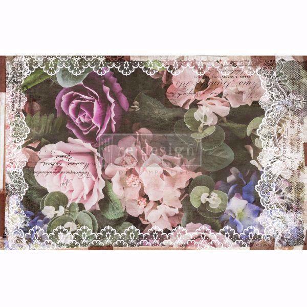 Découpage Décor Tissue Paper - Dark Lace Floral til decoupage scrapbooking og kort - 650179