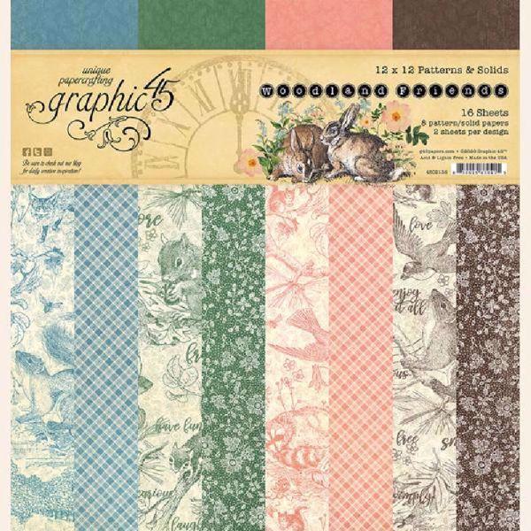 Papir blok 12x12 Patterns & Solids fra Graphic 45 - Woodland Friends - 4502136