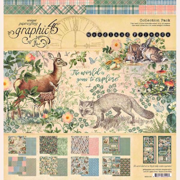 Papir blok 8x8 fra Graphic 45 - Woodland Friends - 4502134